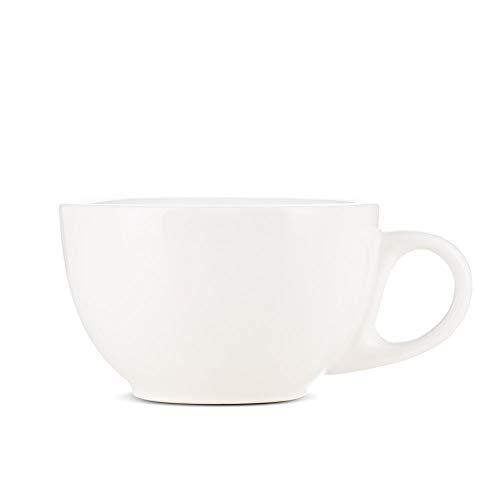 Espresso Parts Premium 12oz Latte Cups with Saucers I Set of 2 Cappuccino Mugs I Porcelain Superior To Ceramic Or Stoneware I Cappuccino Cups Set I Creamy White Latte Mugs For Latte Art