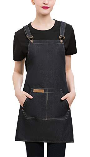 Denim Cross-Back Chef Bib Apron with Pockets for Men and Women (Black)