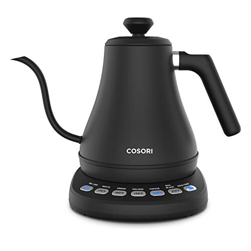 COSORI CO108-NK Electric Gooseneck 0.8L 5 Variable Presets Pour Over Kettle & Coffee Kettle, 100% Stainless Steel Inner Lid & Bottom, Matte Black