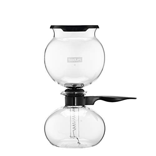Bodum PEBO Coffee Maker, Vacuum Coffee Maker, Siphon Coffee Brewer,Slow Brew, Bold Flavor, Made in Europe, Black, 8 cup, 1 liter, 34 Ounces