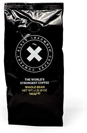 Black Insomnia Whole Bean Coffee - The Strongest Coffee in the World - 1lb Bag
