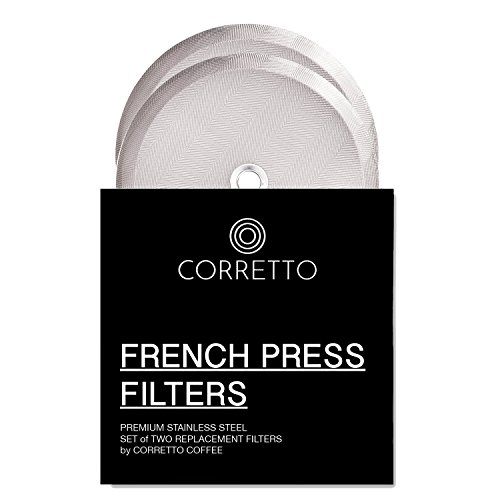2 Universal French Press Replacement Filters for 8 Cup 34 OZ by Corretto Coffee - 2 Fine-Weave Stainless Steel Screen for Bodum, Kona and Most 8-Cup French Press - 4 Inches Wide - Espresso, Tea