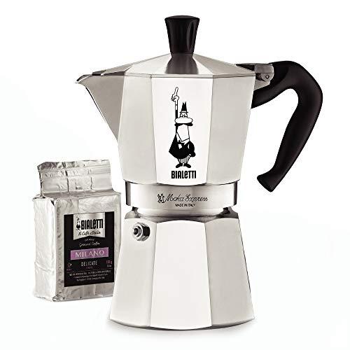 Bialetti Express Moka Pot, 6 -Cup & Coffee, Aluminum Silver
