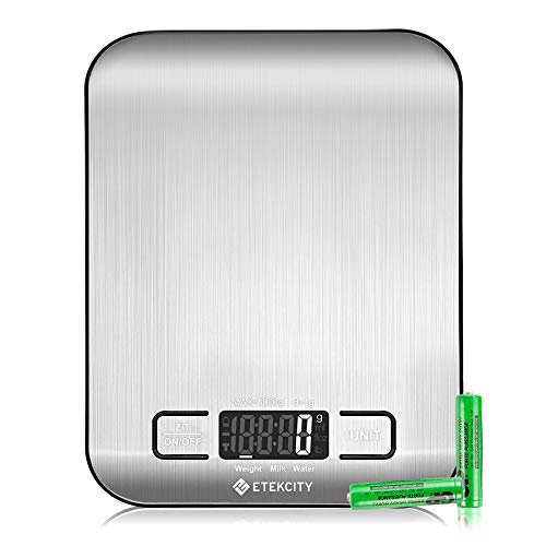 Etekcity Food Kitchen Scale, Digital Grams and Ounces for Weight Loss, Baking, Cooking, Keto and Meal Prep, Medium, 304 Stainless Steel
