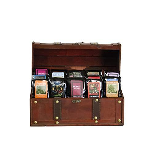 Treasure Chest of Coffee | Wooden Chest filled with 15 100% Specialty Arabica 1.75oz Try-Me-Size one pot samplers