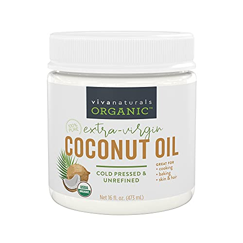 Organic Coconut Oil - Unrefined, Cold-Pressed Extra Virgin Coconut Oil, USDA Organic and Non-GMO Cooking Oil, Great as Hair Oil and Skin Oil, 16 Oz