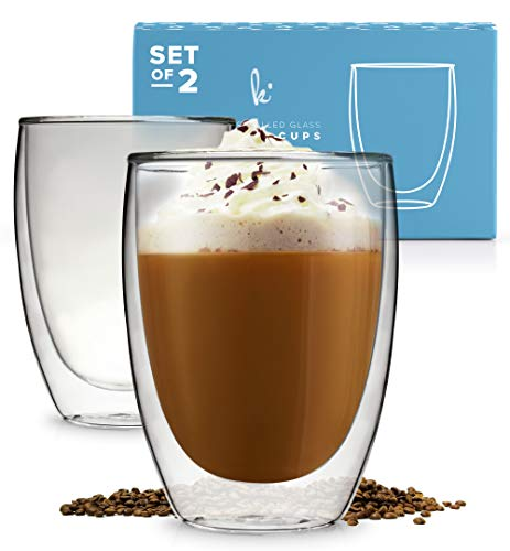 Stackable Glassware, Double Wall Thermal Insulated Cups, Glass Coffee Mugs, Coffee Mug Set, Espresso Latte Cappuccino, Coffee or Tea Mugs, Drinking Glasses, Set of 2-12oz