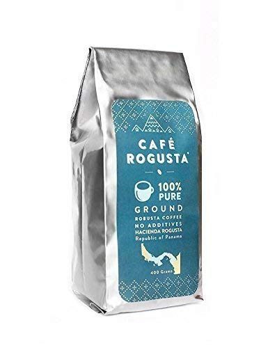 Cafe Rogusta Panama Ground Coffee - Medium Coarse Strong, Double Caffeine Single Origin Robusta - Sustainable - Medium to Dark Roast Panamanian - 400 grams