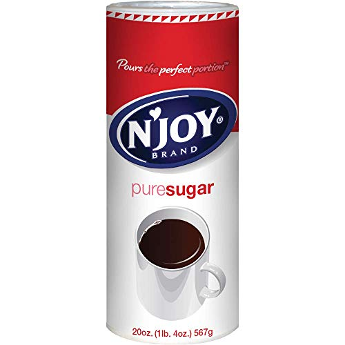 N'Joy Sugar Canister | 20 Ounce, Pack of 6 | 100% Pure Granulated Sugar| Easy Pour Lid, Bulk Size