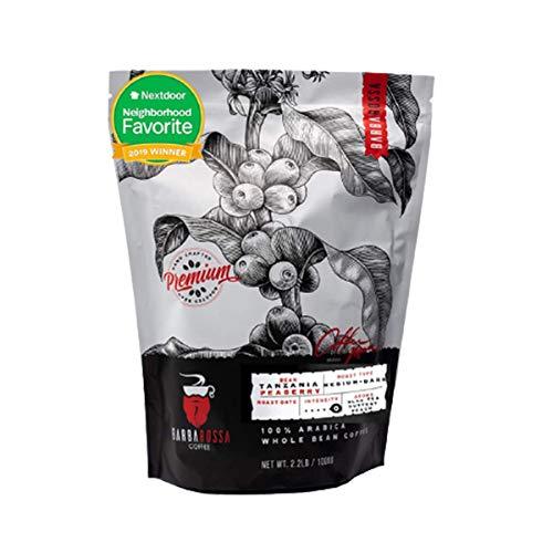 Barbarossa Tanzania Peaberry Mount Kilimanjaro Coffee - Premium Quality Handcrafted - Aroma of Buttery Black Tea Peach Medium Dark Natural Processed - Winey Acidity Fresh Roasted Beans   2019 Neighborhood Favorite Award