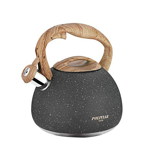 Poliviar Tea Kettle, 2.7 Quart Natural Stone Finish with Wood Pattern Handle Loud Whistle Food Grade Stainless Steel Teapot, Anti-Hot Handle and Anti-Rust, Suitable for All Heat Sources (JX2018-GR20)