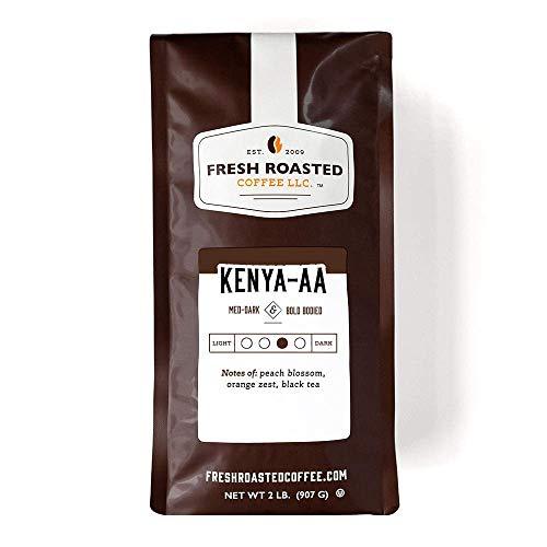 Fresh Roasted Coffee, Kenya AA, Med-Dark Roast, Kosher, Whole Bean, 32 Ounce
