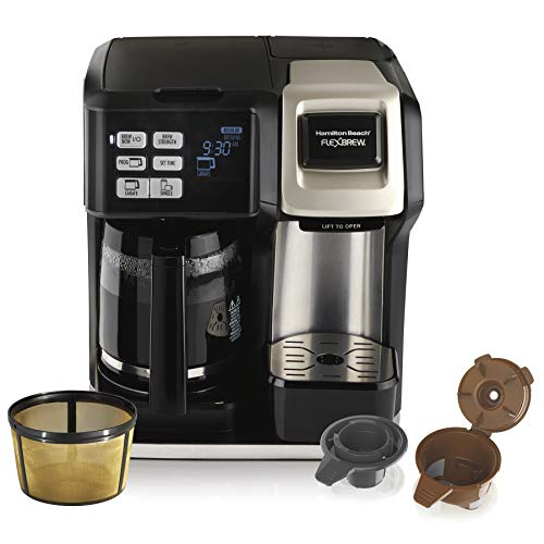 Hamilton Beach FlexBrew Trio 2-Way Single Serve Coffee Maker & Full 12c Pot, Compatible with K-Cup Pods or Grounds, Combo, Silver