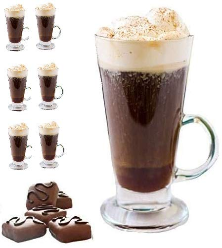 Irish Coffee Mug Tall glass, Latte Cups, Cappuccino and Hot Chocolate Mugs with Handle, Clear Glass, ZERO LEAD for Hot Ounces 6-piece Set (8.5 Ounces)