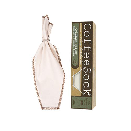 CoffeeSock ColdBrew Filter - GOTS Certified Organic Cotton Reusable Coffee Filter (CB64-01)