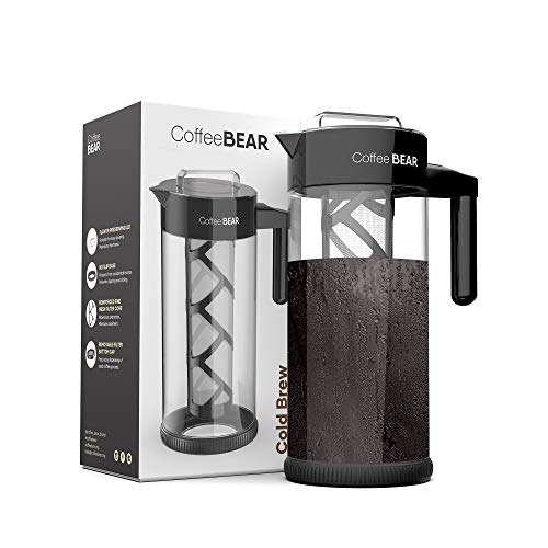 Coffee Bear – Cold Brew Coffee Maker and Tea Brewer, Borosilicate Glass Pitcher with Mesh Filter, 1.3L (44oz)