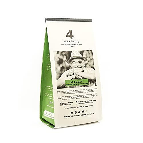 4 Elementos Artisanal Ground Coffee from Colombia - One Bag - 17.6oz (1.1 lb) - Medium Dark Roast - 100% Arabica Tradicional Coffee – Single Origin - Ideal for Espresso, Coffee Maker and French Press