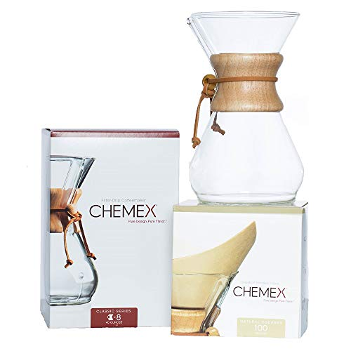 CHEMEX Bundle - 8-Cup Classic Series - 100 ct Circle Filters - Exclusive Packaging