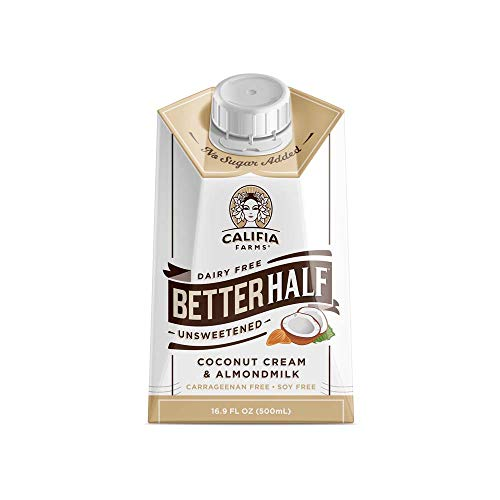 Califia Farms - Unsweetened Better Half Coffee Creamer, 16.9 Oz (Pack of 6) | Half and Half | Coconut Cream and Almond Milk | Dairy Free | Plant Based | Keto | Sugar Free | Shelf Stable