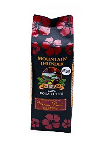 100% Kona Premium Coffee - 1 Pound Premium Gourmet Vienna Roast Ground by Mountain Thunder Coffee Plantation