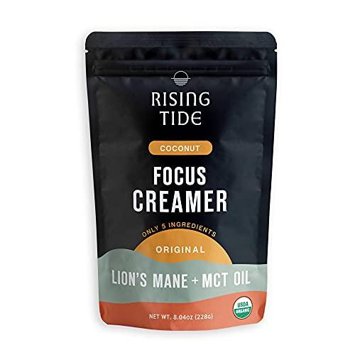 Rising Tide Focus Vegan Creamer, Organic Powdered Coffee Creamer with Lions Mane Mushroom & MCT Oil, Superfood Creamer, Non Dairy, Keto & Paleo Friendly, Original, 8.04 oz, 38 servings