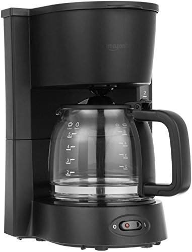 Amazon Basics 5-Cup (25 Oz) Coffeemaker with Glass Carafe and Reusable Filter, Black
