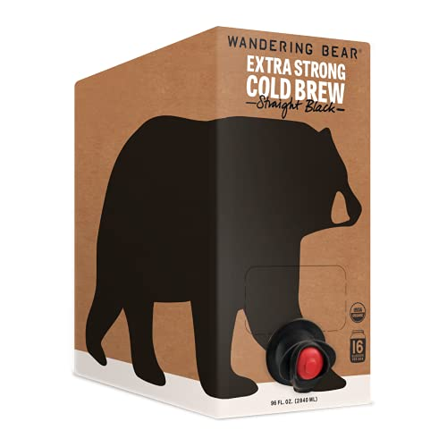 Wandering Bear Extra Strong Organic Cold Brew Coffee On Tap, Straight Black, 96 fl oz - Smooth, Unsweetened, Shelf-Stable, and Ready to Drink