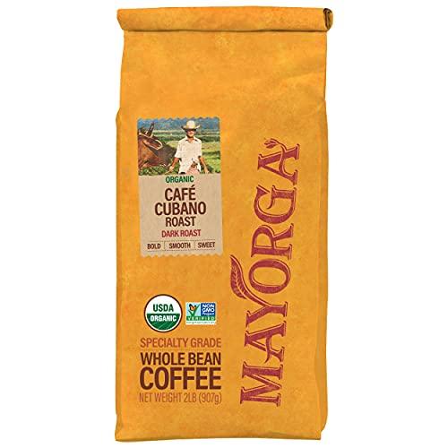 2LB Mayorga Organics Café Cubano Roast, Dark Roast Whole Bean Coffee, Specialty-Grade, USDA Organic, Non-GMO Verified, Direct Trade, Kosher, 100% Arabica Beans