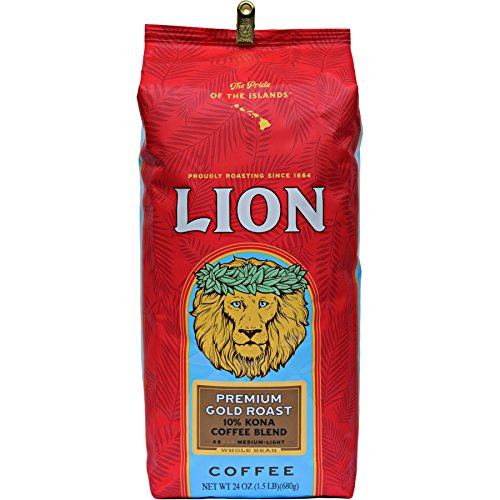 Lion Coffee, Premium Gold Roast, 10% Kona Coffee Blend, Whole Bean, 24 Ounce Bag