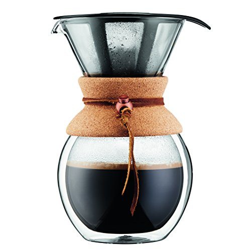 BODUM Pour Over Coffee Maker Grip, 8 Cup, 34 Ounce, Double Wall Cork