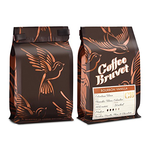 Coffee Bruvet Gourmet Barrel-Aged Bourbon Coffee Infused with Vanilla | Whole Bean Coffee Medium Roast [4oz] | Best Colombian Arabica | Coffee Lover Gift (2 Pack)