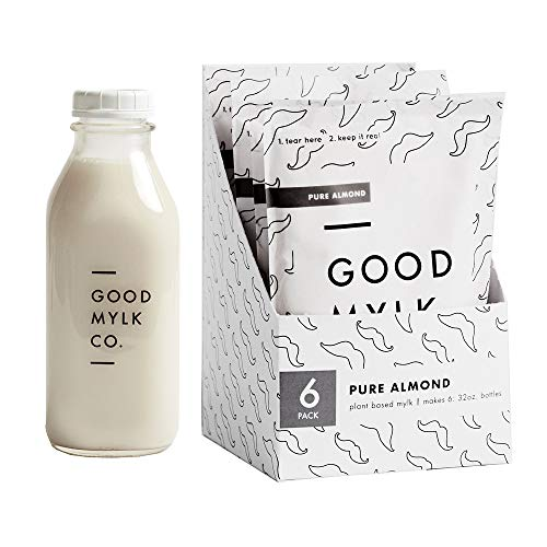 Organic Unsweetened Almond Milk Concentrate - 6 Pack Bundle - Make 6 Fresh 32oz Bottles of Almond Milk At Home (Bottle Included)