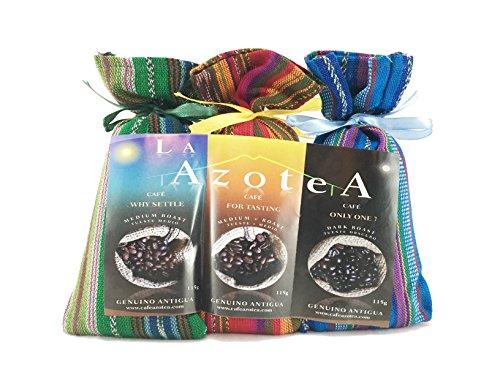 La Azotea Estate Coffee Antigua Guatemala | 100% Arabica Gourmet Coffee Sampler / Gift Set | Medium Roast Americano / Medium + Roast Full City / Dark Roast Espresso (Whole Bean)