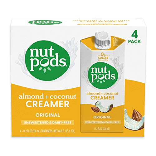nutpods Original, Unsweetened Dairy-Free Creamer, Whole30, Paleo, Keto, Non-GMO and Vegan, for Coffee, Tea and Cooking, Made from Almond and Coconut, 11.2 Fl Oz (Pack of 4)