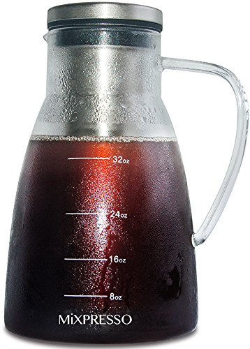 Cold Brew Coffee Maker Airtight Iced Coffee Maker and Tea Infuser Glass Carafe With Removable Stainless Steel Filter For Cold And Hot by Mixpresso - 1.0L / 34oz
