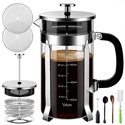 Veken French Press Coffee Maker (34 oz), 304 Stainless Steel Coffee Press with 4 Filter Screens, Durable Easy Clean Heat Resistant Borosilicate Glass - 100% BPA Free, Silver