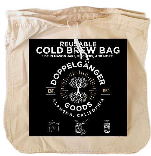 (2-Pack) Organic Cotton Cold Brew Coffee Bag - Designed in California - Reusable Coffee Filter with EasyOpen Drawstring Cold Brew Maker for Pitchers, Mason Jars, & Toddy Systems (Large 12' x 12')