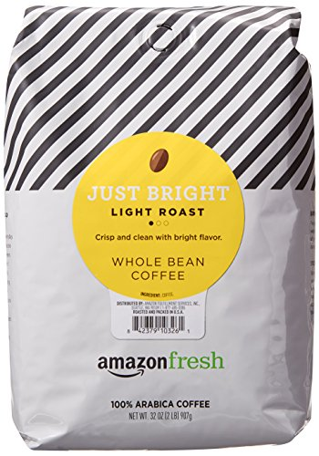AmazonFresh Just Bright Whole Bean Coffee, Light Roast, 32 Ounce (Pack of 1)
