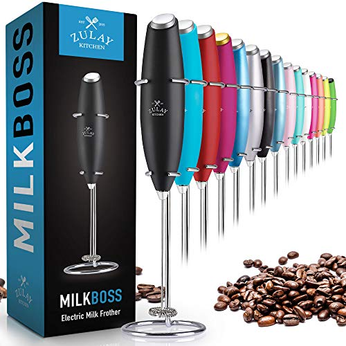 Zulay Original Milk Frother Handheld Foam Maker for Lattes - Whisk Drink Mixer for Coffee, Mini Foamer for Cappuccino, Frappe, Matcha, Hot Chocolate by Milk Boss (Black)