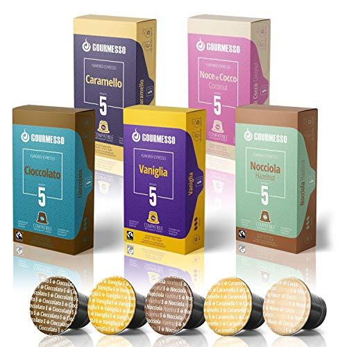 50 Fairtrade Flavored Espresso Capsules Compatible with Original Line Nespresso Pod Machines | Caramel Vanilla Chocolate Hazelnut Coconut Flavored Espresso Pods for Nespresso Capsule Machines