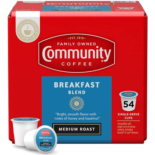 Community Coffee Breakfast Blend 54 Count Coffee Pods, Medium Roast, Compatible with Keurig 2.0 K-Cup Brewers, 1 Box of 54 Pods