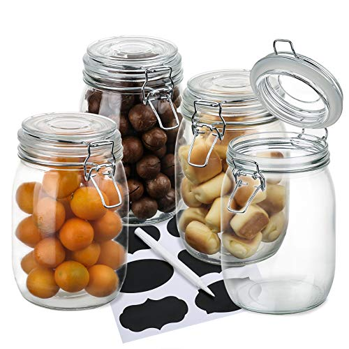 4 Pack Wide Mouth Mason Jars, OAMCEG 34oz Airtight Glass Canning Jars with Leak Proof Rubber Gasket and Clip Top Lids, Perfect for Storing Coffee, Sugar, Flour or Sweets - 8 Labels & 1 Chalk Marker