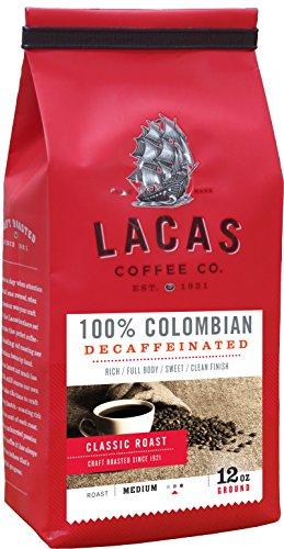 Lacas Coffee Company 100% Colombian Decaffeinated Medium Fine 12 oz.